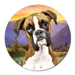 Boxer Meadow Round Car Magnet