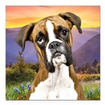 Boxer Meadow Square Car Magnet 3