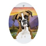 Boxer Meadow Ornament (Oval)