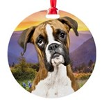 Boxer Meadow Round Ornament
