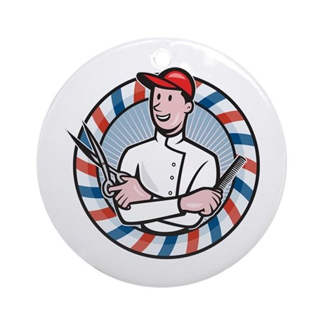 Barber With Scissors and Comb Cartoon Ornament (Ro
