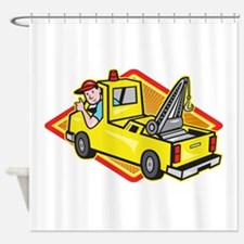 Tow Wrecker Truck Driver Thumbs Up Shower Curtain
