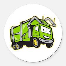 Garbage Rubbish Truck Cartoon Round Car Magnet