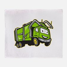Garbage Rubbish Truck Cartoon Throw Blanket