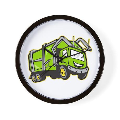 Garbage Rubbish Truck Cartoon Wall Clock