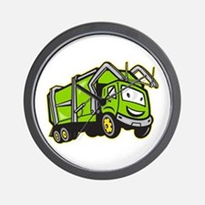 Garbage Rubbish Truck Cartoon Wall Clock