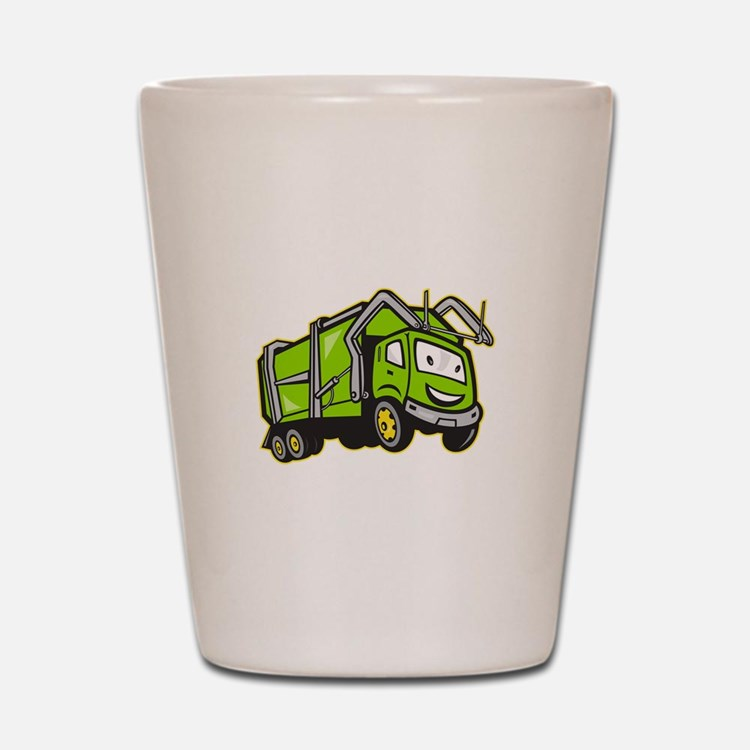 Garbage Rubbish Truck Cartoon Shot Glass