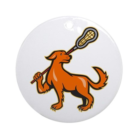 Dog With Lacrosse Stick Side View Ornament (Round)