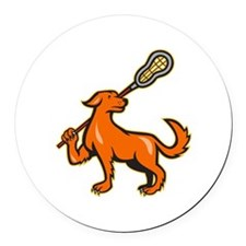 Dog With Lacrosse Stick Side View Round Car Magnet