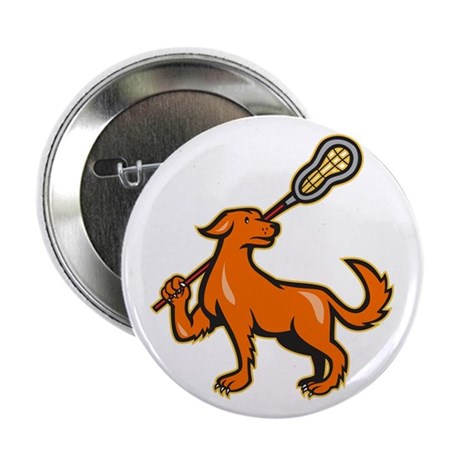"Dog With Lacrosse Stick Side View 2.25"" Button (10"