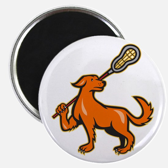 Dog With Lacrosse Stick Side View Magnet