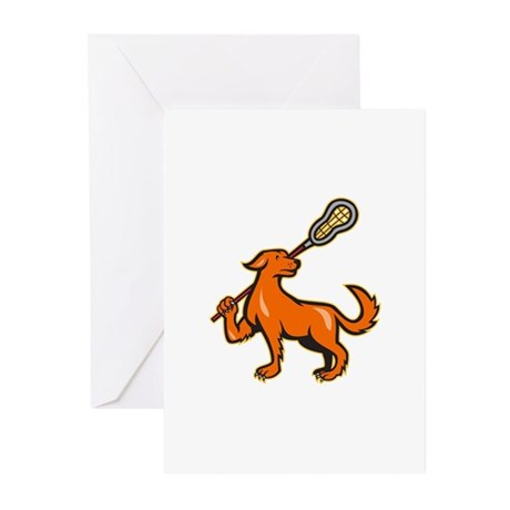 Dog With Lacrosse Stick Side View Greeting Cards (
