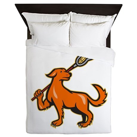 Dog With Lacrosse Stick Side View Queen Duvet