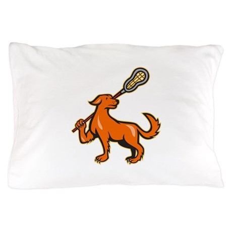 Dog With Lacrosse Stick Side View Pillow Case