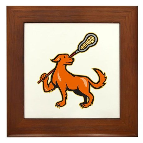 Dog With Lacrosse Stick Side View Framed Tile