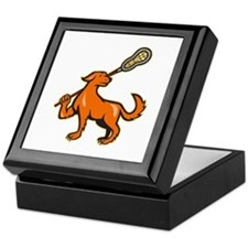 Dog With Lacrosse Stick Side View Keepsake Box