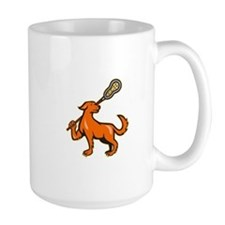 Dog With Lacrosse Stick Side View Mug