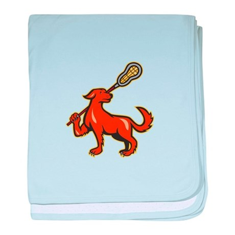 Dog With Lacrosse Stick Side View baby blanket