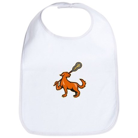 Dog With Lacrosse Stick Side View Bib