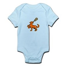 Dog With Lacrosse Stick Side View Infant Bodysuit