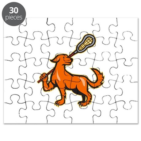 Dog With Lacrosse Stick Side View Puzzle