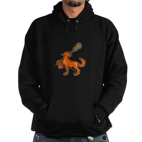 Dog With Lacrosse Stick Side View Hoodie (dark)