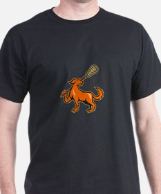 Dog With Lacrosse Stick Side View T-Shirt