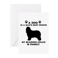 Bearded Collie Dog Breed Designs Greeting Cards (P