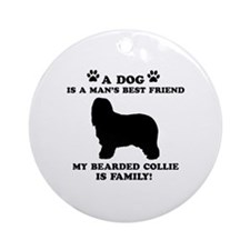 Bearded Collie Dog Breed Designs Ornament (Round)