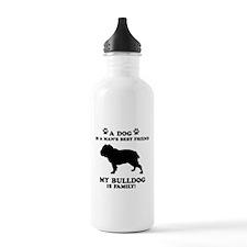 Bulldog Dog Breed Designs Water Bottle
