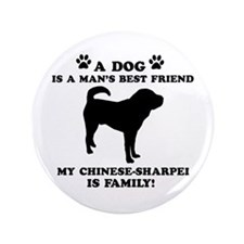 """Chinese Shar-Pei Dog Breed Designs 3.5"""" Button"""