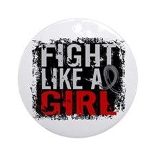 Fight Like a Girl 31.8 Brain Tumor Ornament (Round