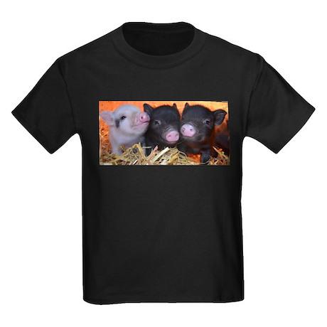 3 little micro pigs Kids Dark T-Shirt