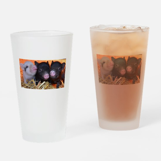3 little micro pigs Drinking Glass