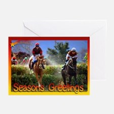 Race Horse Jumping Xmas Cards (Pack of 10)