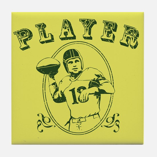 Vintage Football Player Tile Coaster