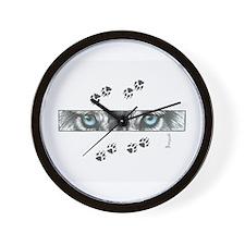 """Wolf Eyes & Paw Prints"" Wall Clock"