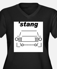 ASCII stang front.png Women's Plus Size V-Neck Dar