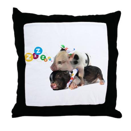 micro pigs sleeping Throw Pillow