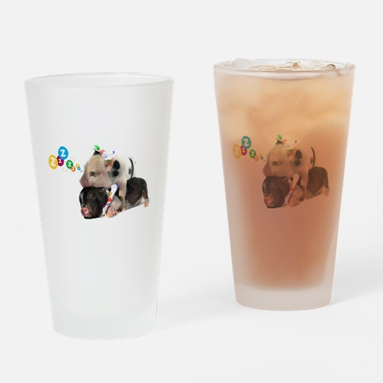 micro pigs sleeping Drinking Glass