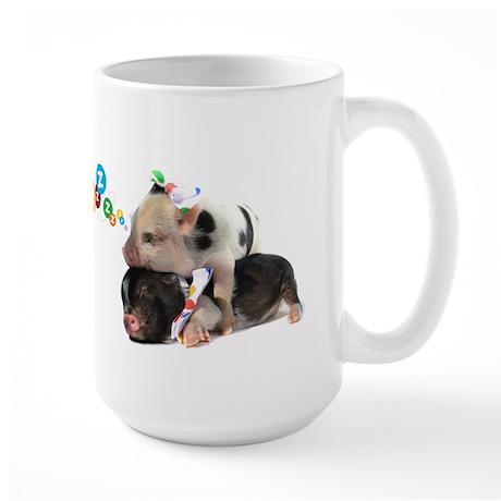 micro pigs sleeping Large Mug