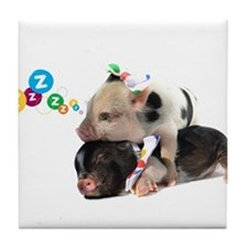 micro pigs sleeping Tile Coaster