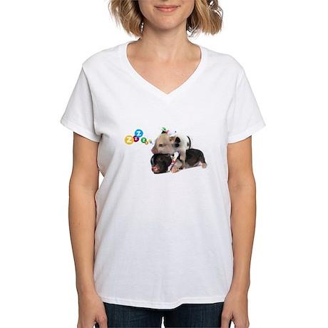 micro pigs sleeping Women's V-Neck T-Shirt