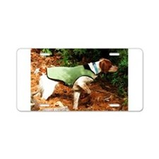 Brittany Spaniel Pointing Aluminum License Plate