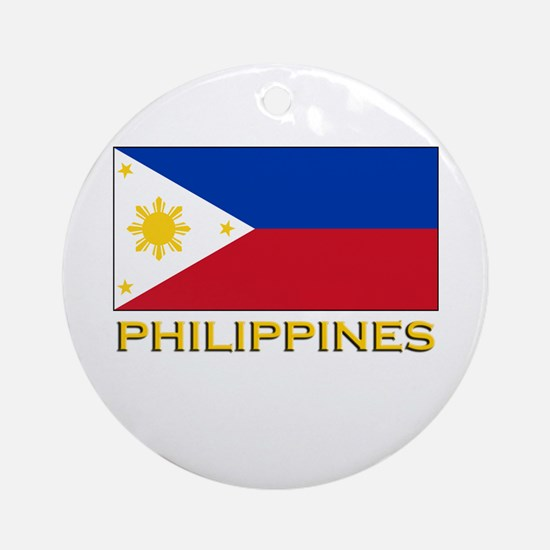Philippines Flag Gear Ornament (Round)