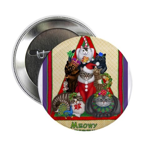 """Meowy Christmas 2.25"""" Button"""