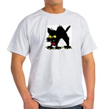 Angry Black Cat Ash Grey T-Shirt