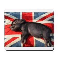 Micro pig sleeping on Union cushion Mousepad