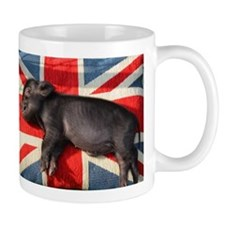 Micro pig sleeping on Union cushion Mug