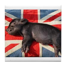 Micro pig sleeping on Union cushion Tile Coaster